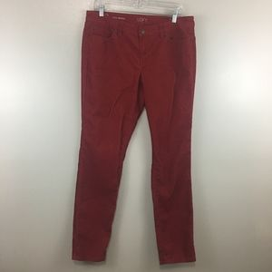 Loft Dark Red Corduroy Modern Skinny Pants